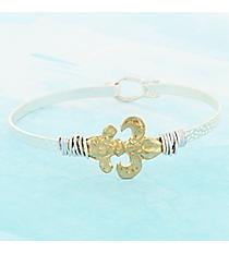 Wire-Wrapped Goldtone Fleur de Lis on Silvertone Bangle #9732B-FDL-SL