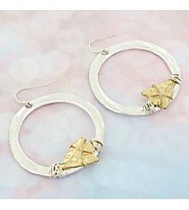 Silvertone with Wire-Wrapped Goldtone Arrowhead Hoop Earrings #9732E-ARROWHEAD-SL