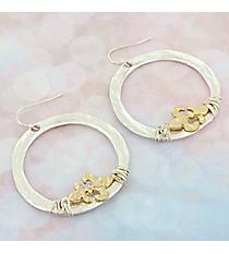 Silvertone with Wire-Wrapped Goldtone Fleur de Lis Hoop Earrings #9732E-FDL-SL