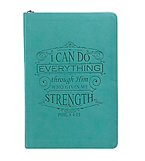 Philippians 4:13 Teal LuxLeather Flexcover Zippered Journal #JL154