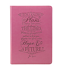 Jeremiah 29:11 Pink LuxLeather Flexcover Journal #JL156