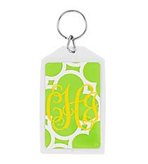 "Lime Green Quatrefoil Acrylic Keytag 3"" #979"