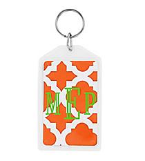 """Orange Moroccan Acrylic Keytag 3"""" #979"""