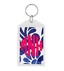 "Royal Blue Floral Paisley Acrylic Keytag 3"" #979"