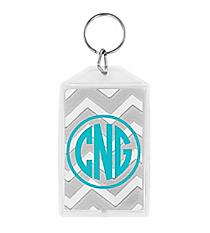 """Silver Chevron Acrylic Keytag 3"""" #979"""