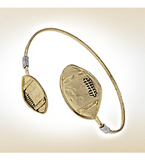 Goldtone with Silvertone Accents Double Football Bangle #9821B-WG-FOOTBALL
