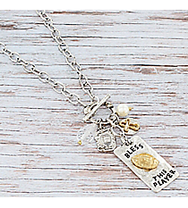 Two-Tone 'Bless This Player' Football Cluster Pendant Toggle Necklace #9822N-FOOTBALL