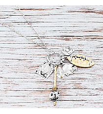 Two-Tone Football Cluster Pendant Necklace #9824N-FOOTBALLr Pendant Necklace #9824N-CHEER