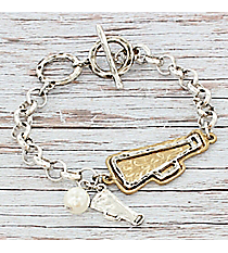 Two-Tone Megaphone Charm Toggle Bracelet #9826B-CHEER