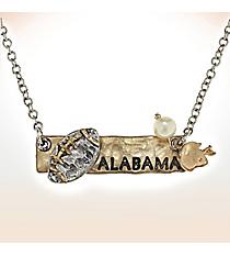 Two-Tone Alabama Football Pendant Necklace #9827N-AL