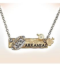 Two-Tone Arkansas Football Pendant Necklace #9827N-AR