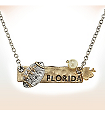 Two-Tone Florida Football Pendant Necklace #9827N-FL