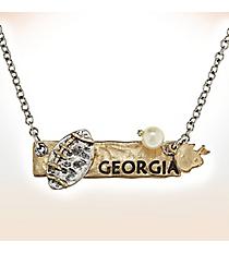 Two-Tone Georgia Football Pendant Necklace #9827N-GA