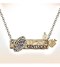 Two-Tone Kentucky Football Pendant Necklace #9827N-KY