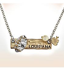 Two-Tone Louisiana Football Pendant Necklace #9827N-LA