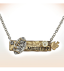 Two-Tone Mississippi Football Pendant Necklace #9827N-MS