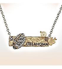 Two-Tone Oklahoma Football Pendant Necklace #9827N-OK