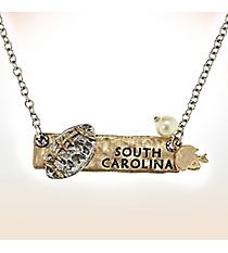 Two-Tone South Carolina Football Pendant Necklace #9827N-SC