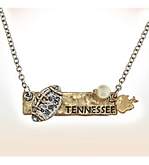 Two-Tone Tennessee Football Pendant Necklace #9827N-TN
