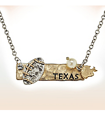 Two-Tone Texas Football Pendant Necklace #9827N-TX