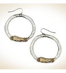 Silvertone with Goldtone Wire-Wrapped Megaphone Hoop Earrings #9828E-CHEER