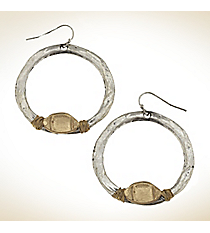 Silvertone with Goldtone Wire-Wrapped Football Hoop Earrings #9828E-FOOTBALL