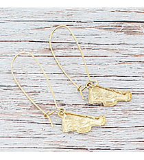Dangling Goldtone Megaphone Earrings #9829E-WG-CHEER