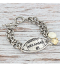 Silvertone 'Arkansas #1' Football Charm Toggle Bracelet #9830B-AR