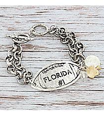 Silvertone 'Florida #1' Football Charm Toggle Bracelet #9830B-FL