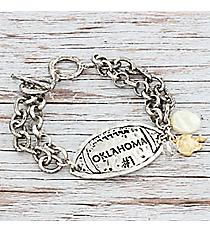 Silvertone 'Oklahoma #1' Football Charm Toggle Bracelet #9830B-OK