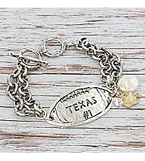 Silvertone 'Texas #1' Football Charm Toggle Bracelet #9830B-TX