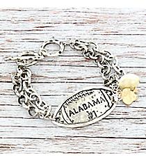Silvertone 'Alabama #1' Football Charm Toggle Bracelet #9830B-AL