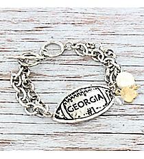 Silvertone 'Georgia #1' Football Charm Toggle Bracelet #9830B-GA