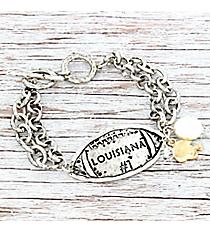 Silvertone 'Louisiana #1' Football Charm Toggle Bracelet #9830B-LA