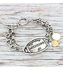 Silvertone 'Mississippi #1' Football Charm Toggle Bracelet #9830B-MS