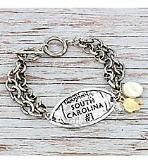 Silvertone 'South Carolina #1' Football Charm Toggle Bracelet #9830B-SC