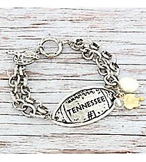 Silvertone 'Tennessee #1' Football Charm Toggle Bracelet #9830B-TN