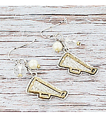 Two-Tone Dangling Megaphone Charm Cluster Earrings #9834E-CHEER