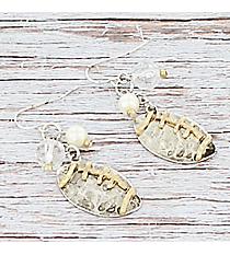 Two-Tone Dangling Football Charm Cluster Earrings #9834E-FOOTBALL