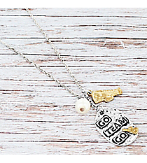 Two-Tone 'Go Team Go' Cheer Pendant Necklace #9835N-CHEER