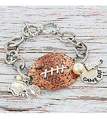 Silvertone with Hammered Coppertone Football Charm Toggle Bracelet #9837B-FOOTBALL
