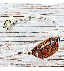 Silvertone with Hammered Coppertone Football Bangle #9838B-FOOTBALL