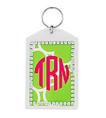 Lime Green Quatrefoil Rhinestone Accented Acrylic Keytag #984RHINE