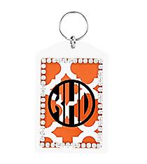 Orange Moroccan Rhinestone Accented Acrylic Keytag #984RHINE