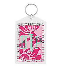 Pink Vintage Floral Rhinestone Accented Acrylic Keytag #984RHINE