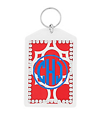 Red Quatrefoil Rhinestone Accented Acrylic Keytag #984RHINE