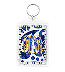 Royal Blue Floral Paisley Rhinestone Accented Acrylic Keytag #984RHINE
