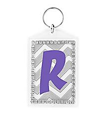 Silver Chevron Rhinestone Accented Acrylic Keytag #984RHINE