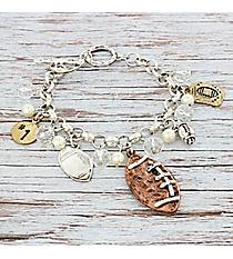 Tri-Tone Beaded Football Charm Toggle Bracelet #9840B-FOOTBALL