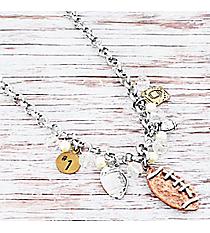 Tri-Tone Beaded Football Charm Necklace #9840N-FOOTBALL